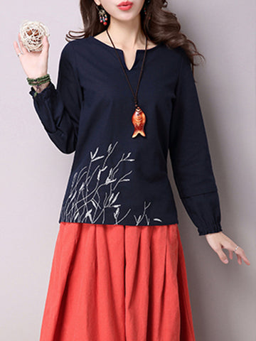 Casual Embroidered Tie Back Long Sleeve V-neck Women T-shirts