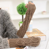 30CM Women Winter Knitting Rhombic Fingerless Long Sleeve Casual Warm Half Finger Gloves