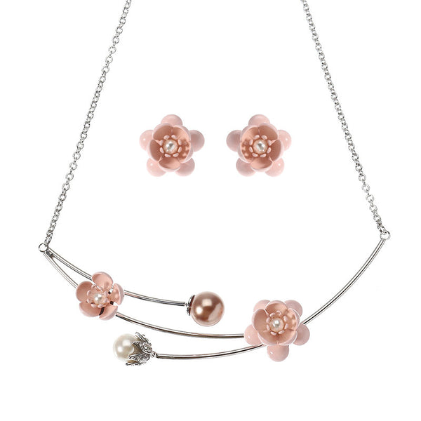 JASSY® Sweet Peach Blossom Earrings Pearl Pink Flower Platinum Plated Necklace Best Gift for Women