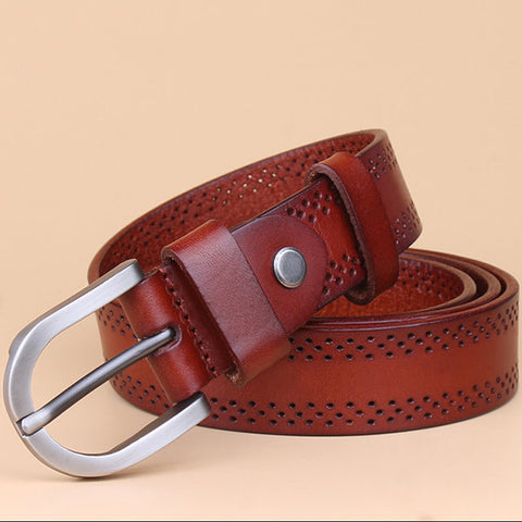 Fashion Women First Layer Of Cowhide Leather Belt Casual All-match Pin Buckle Waistband