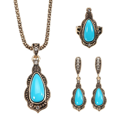 JASSY® Women Bohemian Turkish Blue Jewelry Set Retro Drop Earrings Necklace Ring
