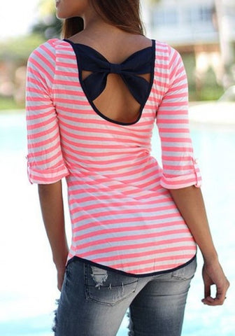 2018 Red Striped Print Bow Backless Casual Going out T-Shirt