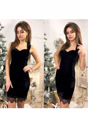 2018 Black Patchwork Lace Shoulder-Strap V-Back Neck Mini Dress