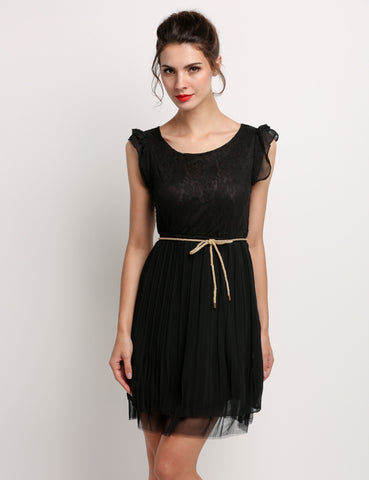 Black Court Style Retro Lace Chiffon Sleeveless Vest work Dress