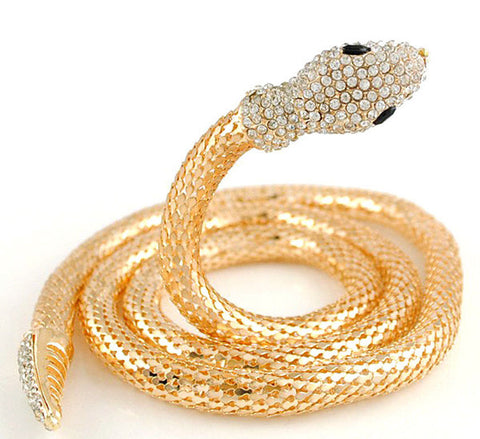Statement Snake Shape Gold Long Chain Rhinestone Bib Necklace Wholesale for Women