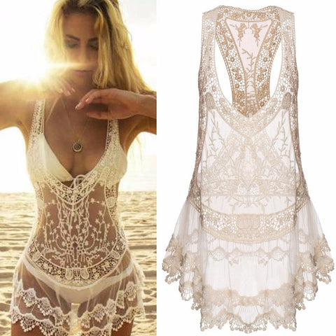 2017 Women Summer Casual Spaghetti Strap Sexy V-neck  Mini Lace Swimwear