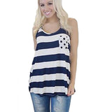 Women's  Summer Style Sleeveless Anchor Print Back Bow Knot Decoration Tank Top