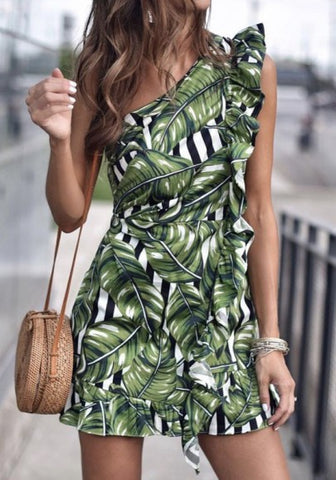 Green Floral Asymmetric Shoulder Ruffle Fashion Mini Dress