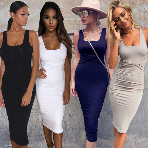 2017 Women Summer Scoop Collar Sleeveless Tight Office Dresses