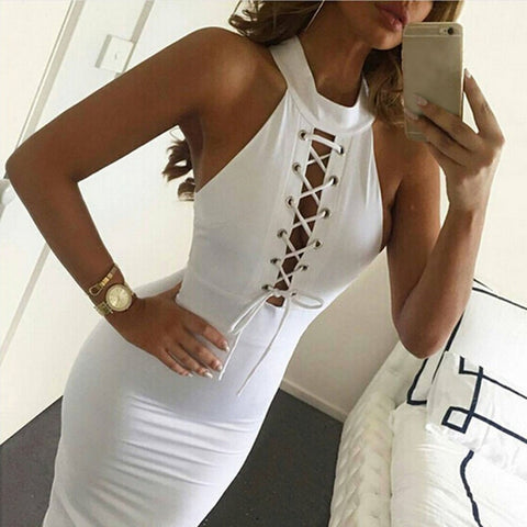 Women Sexy Bandage Turtleneck Bodycon Sleeveless Cocktail Midi Length Celebrity Club Party Pencil White Dress