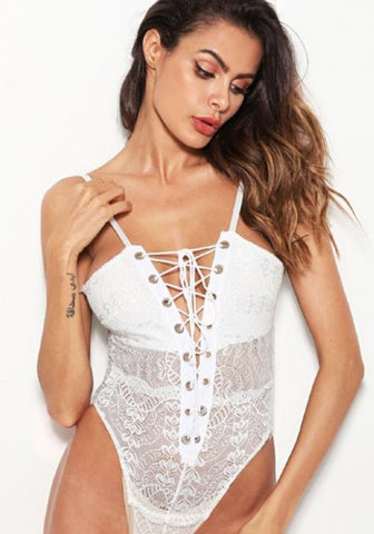 White Patchwork Condole Belt Drawstring Lace Studded Short Jumpsuit