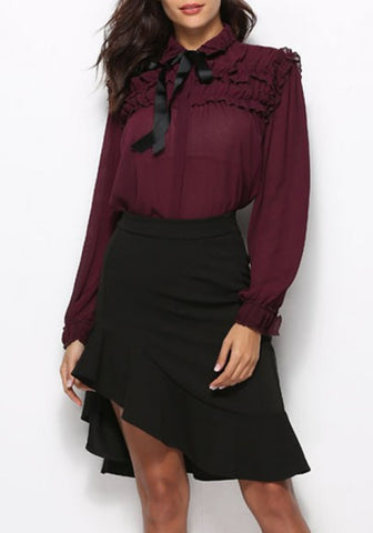 2018 Burgundy Ruffle Lace-up Turndown Collar Elegant Office Worker/Daily Blouse