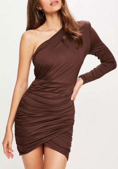 Coffee Asymmetric Shoulder Backless Irregular Long Sleeve Ruched Party Mini Dress
