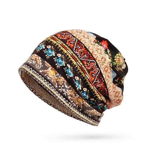 Women Cotton Print Stripe  Bonnet Hats  Casual Outdoor Sun  Cap Multi-function Towel