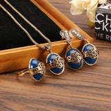 JASSY® Vintage Women Jewelry Set Bohemian Flower Pattern Natural Blue Stone Ring Earrings Necklace