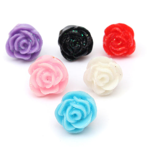12 Pairs Mixed Color Cute Resin Rose Stud Earrings