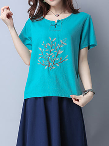 Casual Embroidered Frog Button Short Sleeve O-neck T-shirt For Women