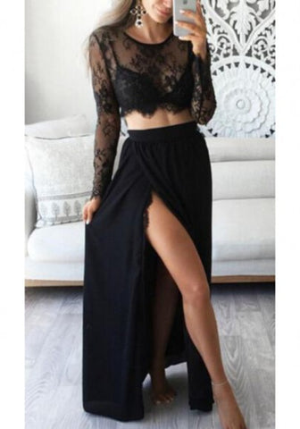 2018 Black Lace Two Piece Thigh High Side Slits Elegant Party Maxi Dress