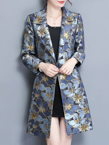 Elegant Flower Printed Suit Collar Long Sleeve Coats For Women