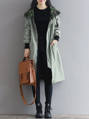 Casual Camouflage Patchwork Hooded Long Sleeve Women Coats