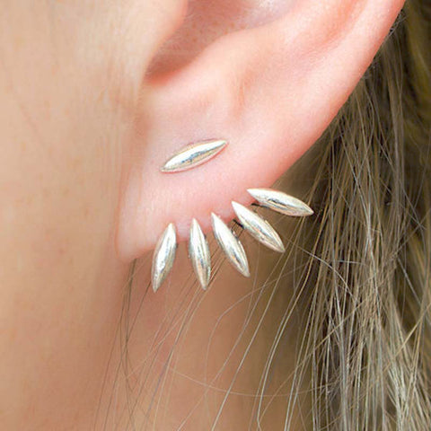Trendy Leaf Punk Gold Silver Ear Stud Spiky Spike Claw Women Earrings