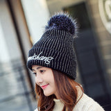 Womens Winter Thick Wool Knitted Hat With Raccoon Fur Pompom Warm Skullies Beanie Hat