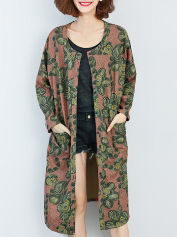 Long Sleeve Vintage Floral Printed Loose O-Neck Shawl Coat