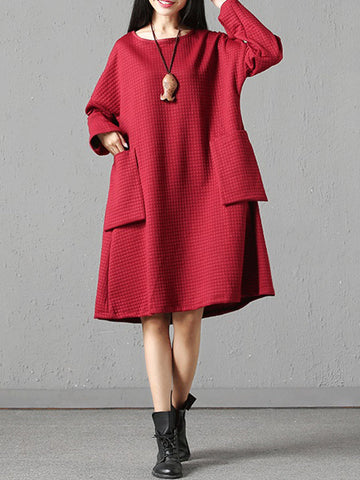 Brief Solid Color Front Big Pocket Women Casual Dresses