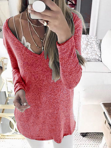 New Solid Long Sleeve Knitted Casual V neck Wool blend Plus Size Sweater