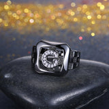 Women's 14mm Elegant Shiny Zircon Ring  Black Plated Ring
