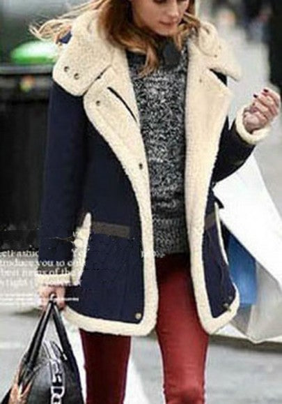 Dark Blue Patchwork Pockets Buttons Hooded Long Sleeve Coat
