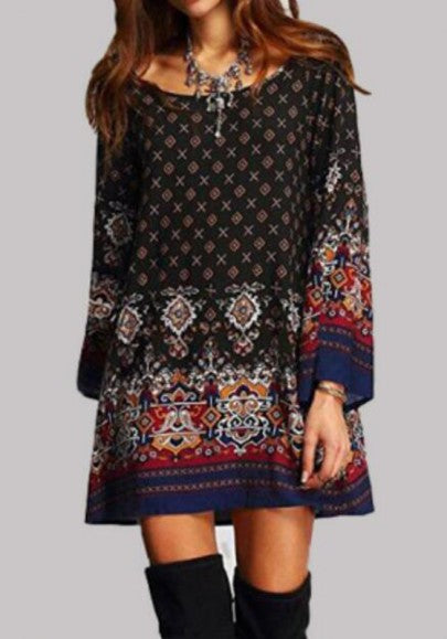 Black Tribal Floral Print Draped Kimono Sleeve Vintage Boho Mini Dress