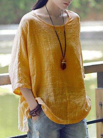 New Women Casual Loose Solid O-neck Shirt Half Sleeve Cotton Top