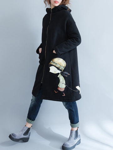 Casual Cartoon Print Hooded Brushed Stand Collar Long Sleeve Coat
