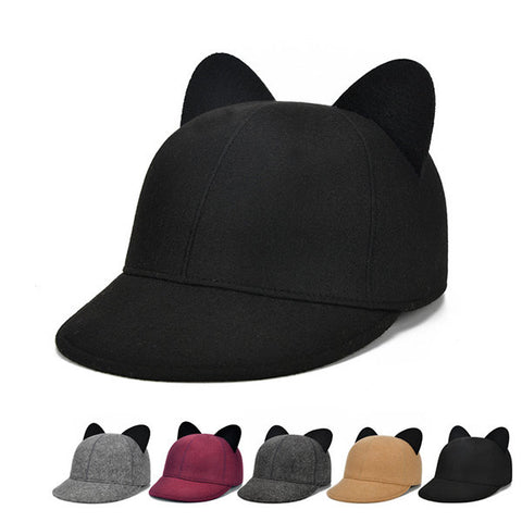 Womens Fur Cute Baseball Hats With Ear Cap Outdoor Fashion Warm Windproof Sunshade Snapback Hat