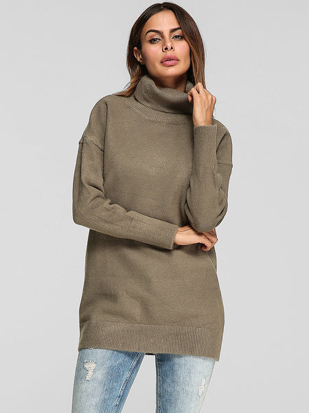 Women High Collar Pure Color Long Sleeve Casual Sweaters