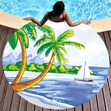 Round Printed Beach Towel Seaside Sunbath Suntan Yoga Mat