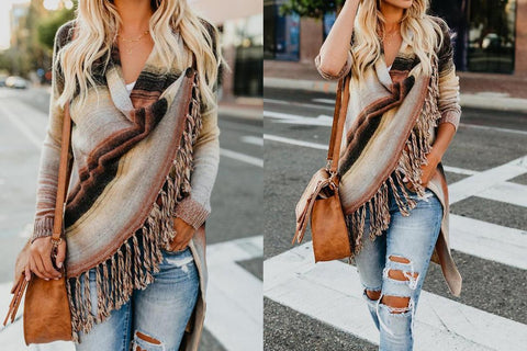 New Loverchic Gradient Fringe Cardigan