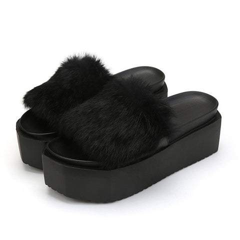 Fur Soft Comfortable Suede Platform Warm Slippers For Women