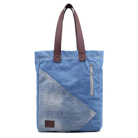 Casual Blue Denim Tote Shopping Bag Handbag