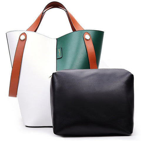 Women Contrast Color PU Leather Bucket Bag Handbag