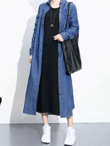 Women Long Sleeve Turn-down Collar Denim Shirt Dresses