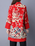 Vintage Print Layered Splited Lapel Long Sleeve Women Coats