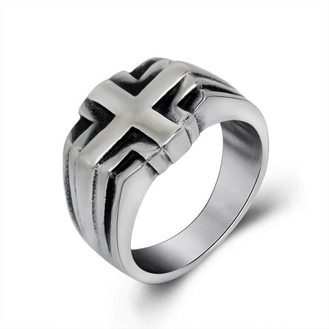 Fashion Vintage Punk Cross Male Titanium Steel Ring Men's Stainless Steel Jewelry