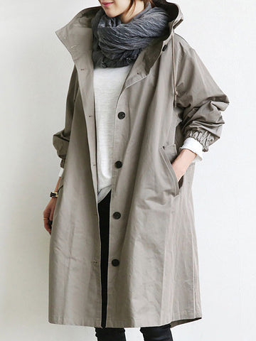 Casual Hooded Pure Color Trendch Coats For Women