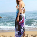 Women Chiffon Printing Floral Wrapped Chest Beach Towel Casual Sunscreen Bikini Shawl Scarfs