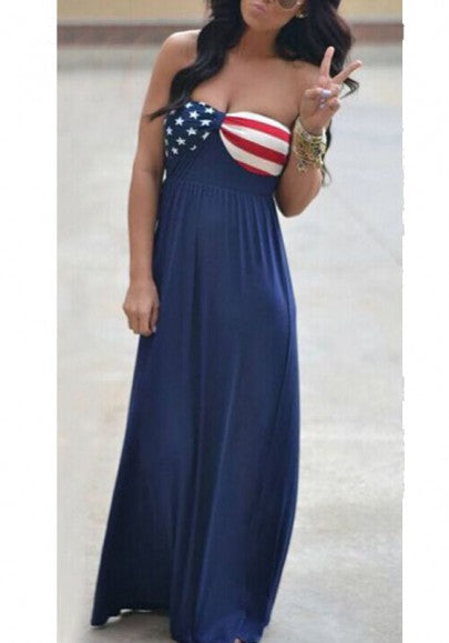 2018 Navy Blue The Stars And Stripes Print Bandeau Off Shoulder Party Maxi Dress