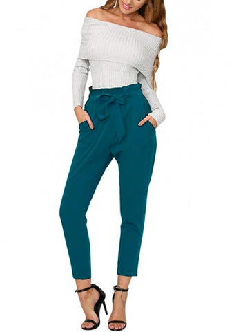 Blue Pockets Sashes Casual Long Pants