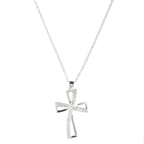 925 Sterling Silver Cross Crystal Necklace