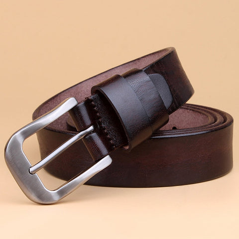 Women Retro Brief Solid First layer Of Cowhide Belt Casual Pin Buckle Waistband Belt